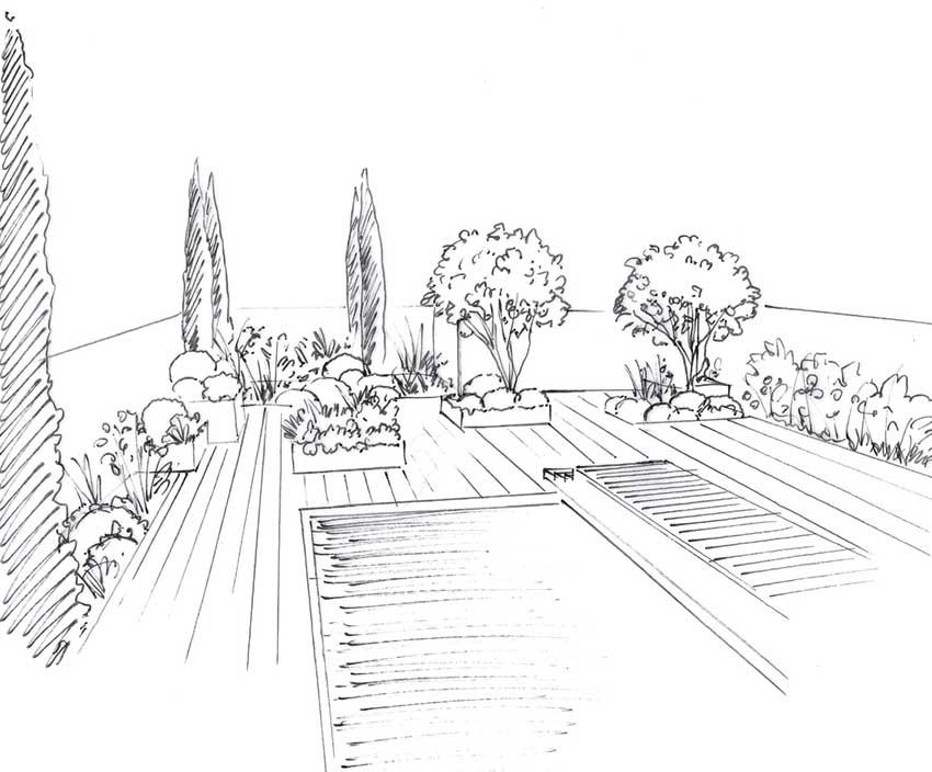 Croquis d'un architecte paysagiste